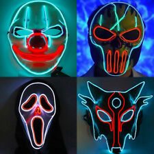 Halloween LED Purge Mask Scary Adult Costumes Light Up Glow Neon Stitches Masks