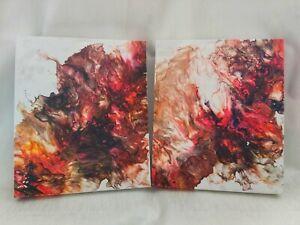"""HEIDI RED"" Original Abstract Acrylic fluid wall art set of 2"