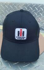 INTERNATIONAL HARVESTER IH PATCH ALL BLACK TWILL MESH TRUCKER LOGO HAT CAP NEW