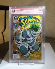 SUPERMAN MAN OF STEEL #18 CBCS 9.6 White SIGNED L. Simonson FIRST DOOMSDAY APP