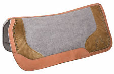 USED WESTERN CONTOURED WOOL FELT LEATHER COWHIDE GEL HORSE SADDLE PAD TRAIL SHOW