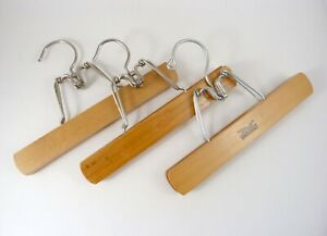 Lot of 3 Vintage THE SETWELL Garment Hangers Pants Hangers 1930s-1950s Wood 10""