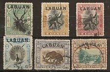LABUAN 1900-02 PICTORIAL SET SG111/16 FINE USED THE KEY 4c BLACK & YELLOW IS VFU