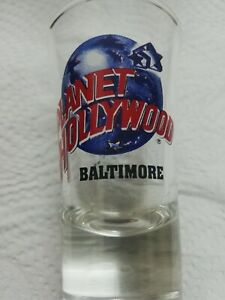 "New Never Used Planet Hollywood Baltimore Shot Glass 3 1/2"" Tall Souvenir Collec"