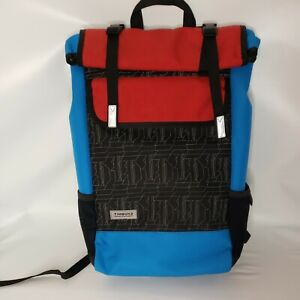 Timbuk2 Prospect Laptop Backpack ~Roll Top Black Red Blue 18x5x12 Canvas
