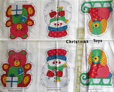 Vtg 70s Calico Toy Soldier Christmas Ornament cotton fabric panel snowman horse