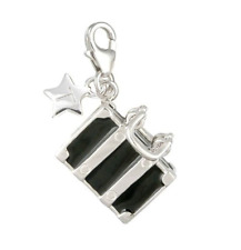TINGLE Sterling Silver Black Opening Suitcase Charm - Gift Bag & Box SCH2 (£50)