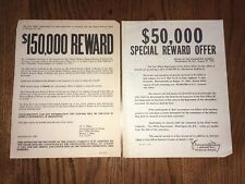 "*RARE* ""THE GREAT PLYMOUTH MAIL ROBBERY"" BOSTON MAFIA FBI WANTED REWARD POSTERS"