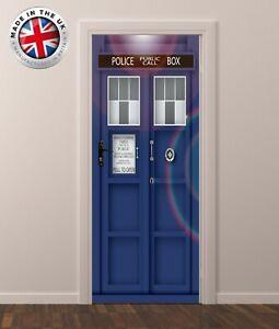 DS5 DOOR FRIDGE CUPBOARD SKIN COVER TARDIS DR WHO STICKER WRAP SCENERY  MURAL