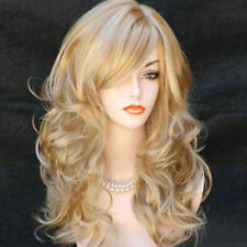 "23"" Women's Heat Resistant Hair Blonde Middle Long Curly Full Wig + Wig Cap"