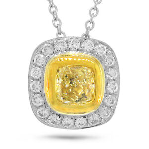 0.68TCW 14K Gold Natural Fancy Yellow Cushion Cut Diamond Bezel Pendant Necklace