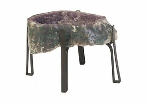 """24"""" Long Side Table Accent Large Amethyst Crystal Unique Natural Metal Base 632"""