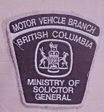 British Columbia Canada Motor Vehicle Branch Patch - used Solicitor General