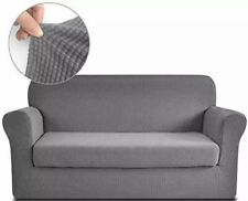 RHF Jacquard Stretch 2 Piece Slipcover Grey For Loveseat