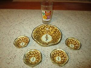 VTG Mr. Peanut Tin Snack Nut Dish Bowl Set Of 5 & Derby Peter Pan Tumbler!!!!