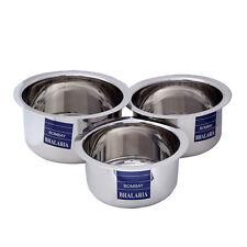 3 PC Set Indian Stainless Steel Stock Pot Cookware Round Topia Patila Bhaguna