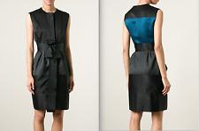 Lanvin 2015 $5675 Black Teal Silk Cotton Sleeveless Belted Dress Sz FR 38 US 6