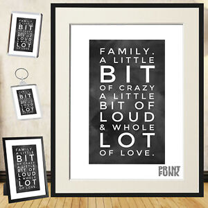 Family Love - Poster Print Quote Lovely Art Funky Wall Décor + Frame / Gift