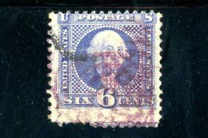 USAstamps Used FVF US 1869 Pictorial Washington Scott 115 Grilled Purple Cancel