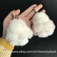 8cm Real Mink Fur Rabbit Bunny Car Keychain Phone Pendant Bag Charm Kids gift