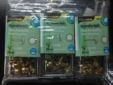 "Three (3) boxes of Drtiz Home Decorative Nails - 3/8"" Long - Brass - 36 Count"