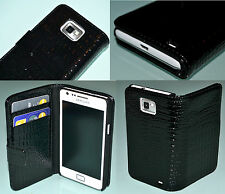 Croc Style Black Flip Leather Wallet Case for Samsung Galaxy S2 I9100 Hold Cards