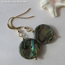 Opal des Meeres* edle Paua Perlmutt Ohrringe Abalone Seeopal Gold 585 14K ygf/GF