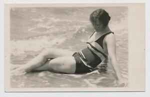 RPPC Bathing Beauty Beach Scene Young Woman Fashion Swimsuit Swimming Real Photo