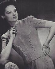Vintage Knitting PATTERN to make Zip Sweater Jacket Blouse Designer 40sFashion