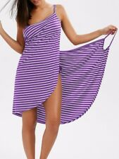 Women Stripe Sling Backless Swimwear Scarf Beach Cover Up Wrap Sarong Maxi Dress