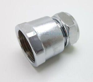 """18mm x 3/4"""" BSP Female Chrome Straight For Riser Rails, Diverters, Shower Valves"""