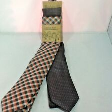 Wembley Men's Necktie 2-Pack Grays Orange Fall Colors New w/ Tags