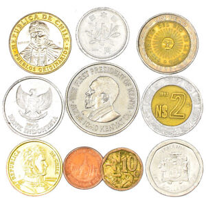 MIXED LOT 10 EXOTIC COINS FROM ASIA, AFRICA, AUSTRALIA & OCEANIA, SOUTH AMERICA