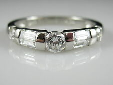 Platinum Ring Band Anniversary Ring Estate Baguette Round .61ctw Size 6.25