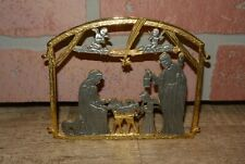 Camco Small Desk Top Nativity Scene Gold Brass Silver Tone Metal Manger Display