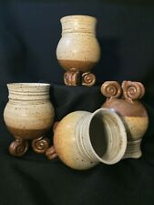 Pottery Footed Drinking Glasses Set of 4 Ceramic Unique Earthy Barware Drinkware