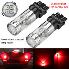 2pcs Red S25 3157 80W CREE XBD High Power LED Bulbs Brake Tail Stop Lights Lamps