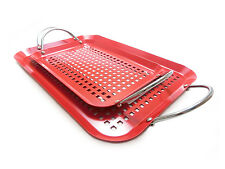 BBQ CHOICE All Purpose Non-Stick Rectangular Barbecue Grilling Grids - Set of 2