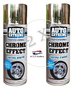 2 x CHROME FOIL MIRROR METALLIC EFFECT AUTO SPRAY PAINT DIY CAR AEROSOL 400ML