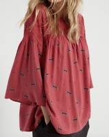 New White Stuff Misu Lace Llama Smock Top Flattering Dark Pink RRP £45 Save £25