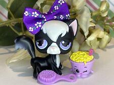 Authentic Littlest Pet Shop Lps No# Black Longhair Angora Kitty Cat Purple Eyes