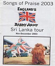 BARMY ARMY SRI LANKA 2003 TOUR MEMORABILIA