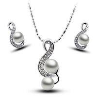 Schmuckset Halskette Ohrringe Damen Mädchen Silber mit Perlen Geschenk Kristalle