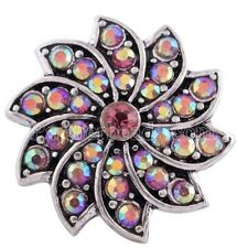 Silver Swirl Opal Rhinestone Flower 20mm Snap Charm Jewelry For Ginger Snaps
