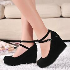 Sweet Womens Ankle Strap Wedge Heel Platform Casual Pumps Sandals Date Shoes New