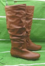 new ladies  Tan Flat Slouch Knee Sexy Boots  back ELASTIC women Size  9