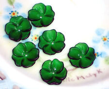 Vintage Flower Beads Lucite14mm Shabby Floral Emerald Posey Bead Caps #1216
