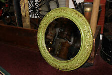 Vintage Shabby Chic Circular Wood Mirror-Painted Green-Flowers Floral Design