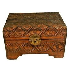 """Handmade Teak Wood Jewelry Box for Trinkets or Accessories Brown Floral 7""""x5""""x4"""""""