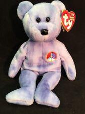 Ty Beanie Baby Peace Bear 2002 Blue Multi-color PEACE SYMBOL Retired 10yr Anniv